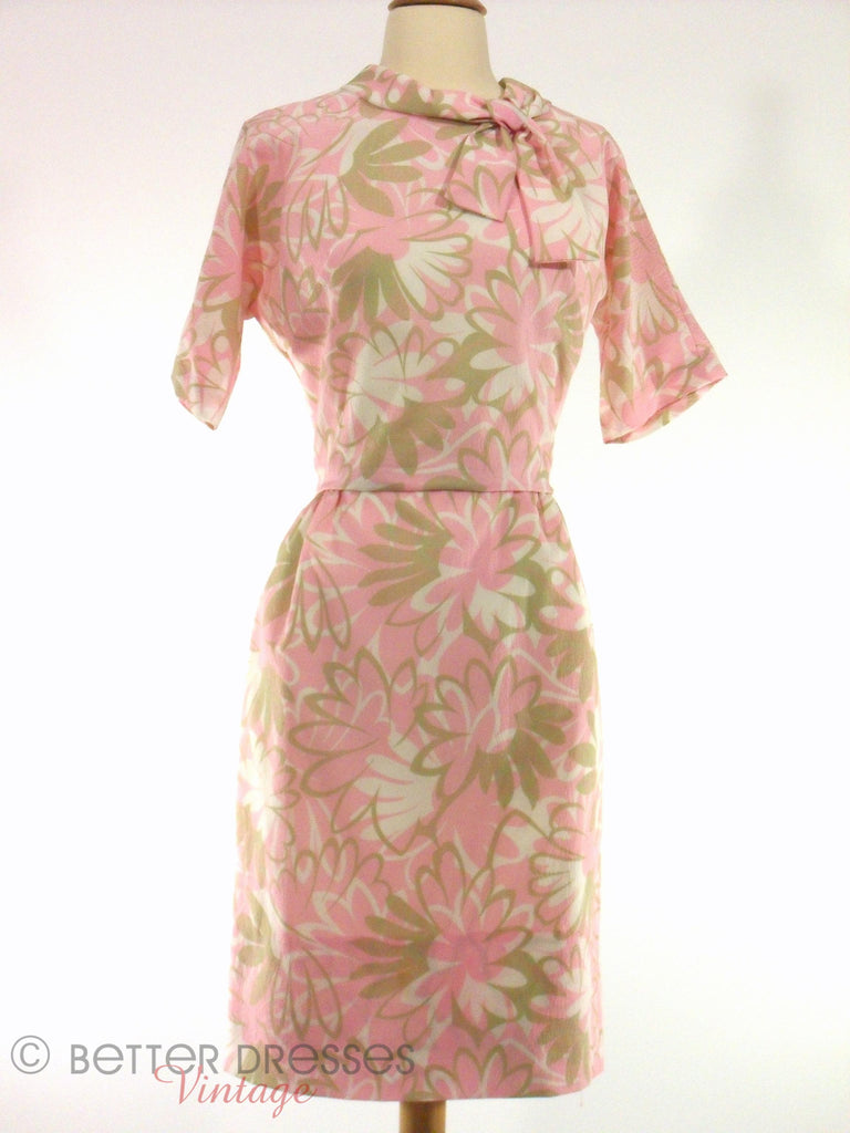 60s Pink & Taupe Floral Wiggle Dress at Better Dresses Vintage