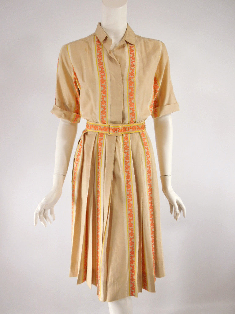 50s/60s Striped Silk Shirtwaist Dress - overview