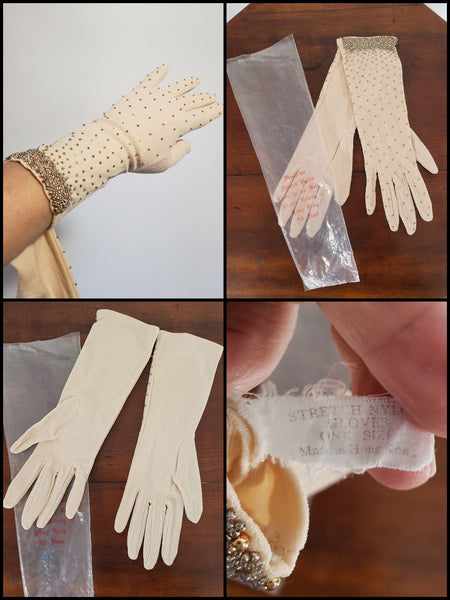 50s 60s beaded gloves details and tag