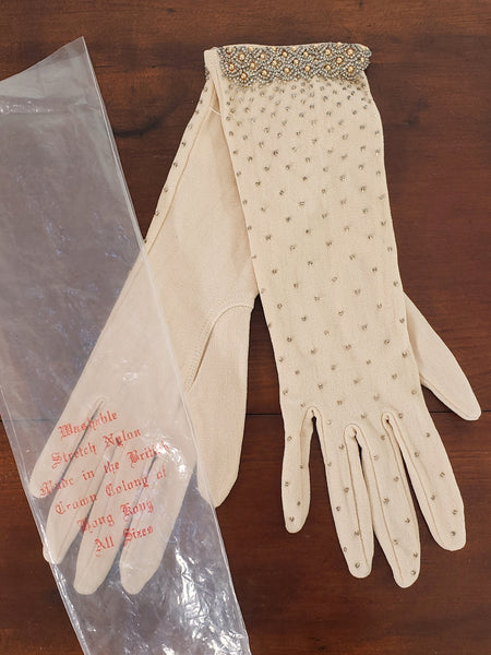 50s 60s beaded gloves
