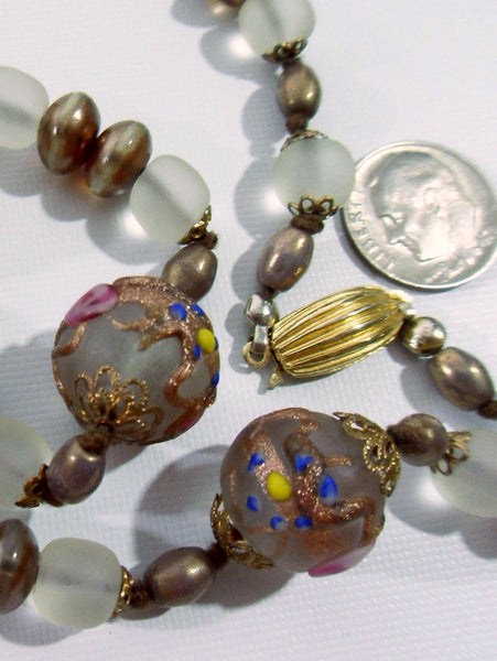 50s Czech Glass Necklace - close up