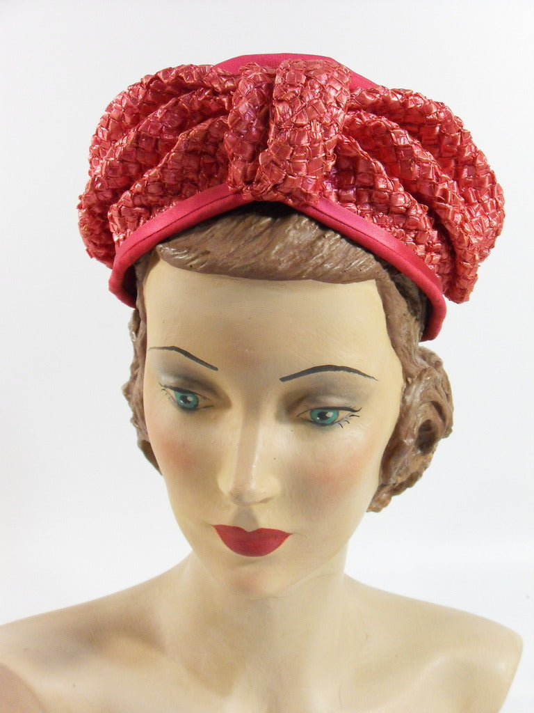 60s Pink Straw Turban Hat from Regenstein's on Peachtree