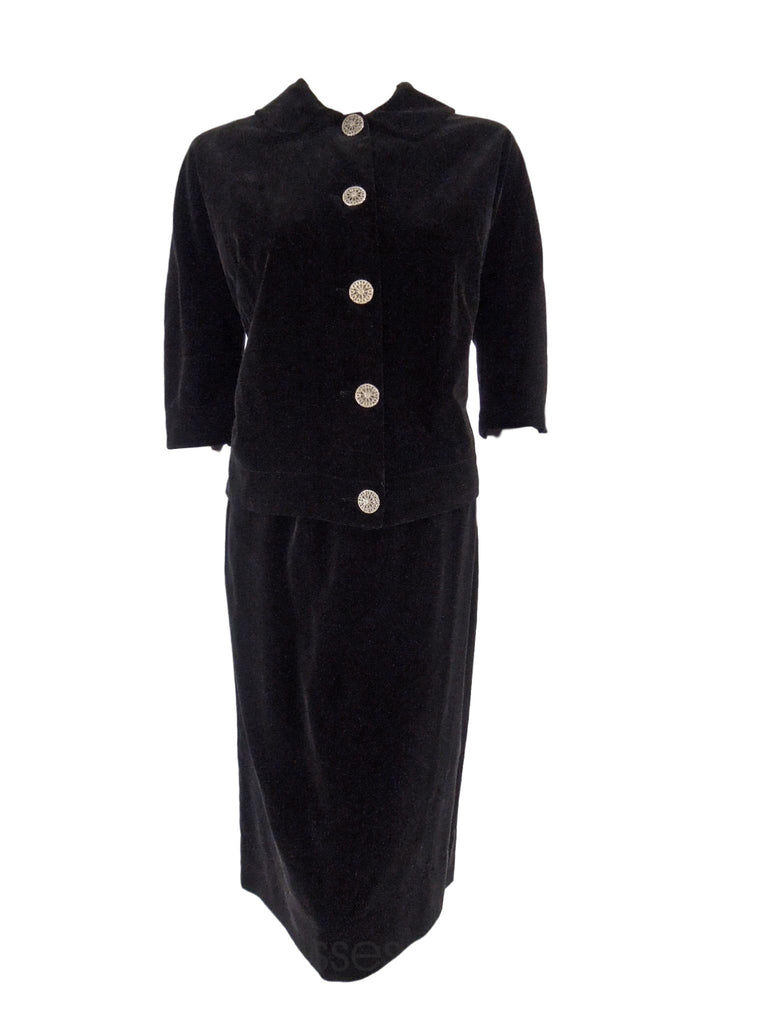50s Black Velvet Skirt Suit