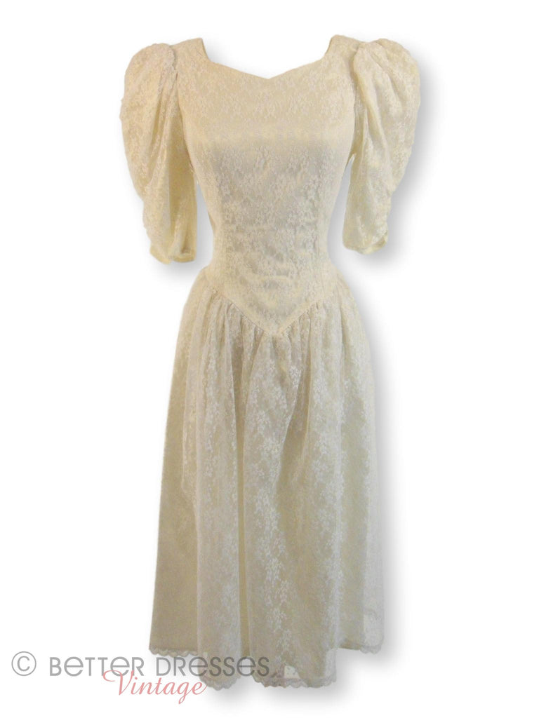 80s Gunne Sax White Lace Dress - front