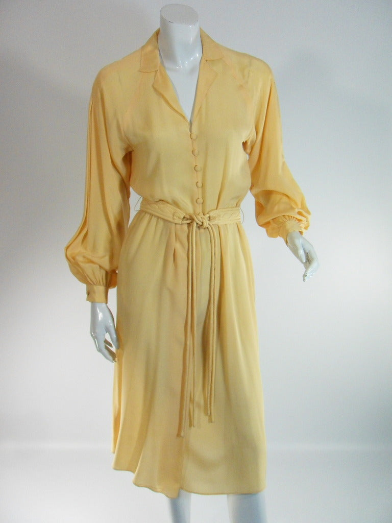 "70s Goldenrod Yellow ""Miriam Shore"" Silk Dress - sm, med"
