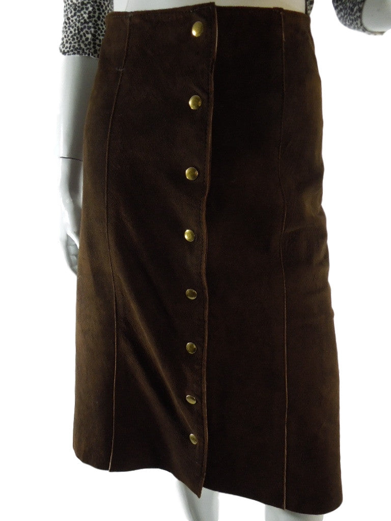 70s Brown Suede Snap-Front Skirt
