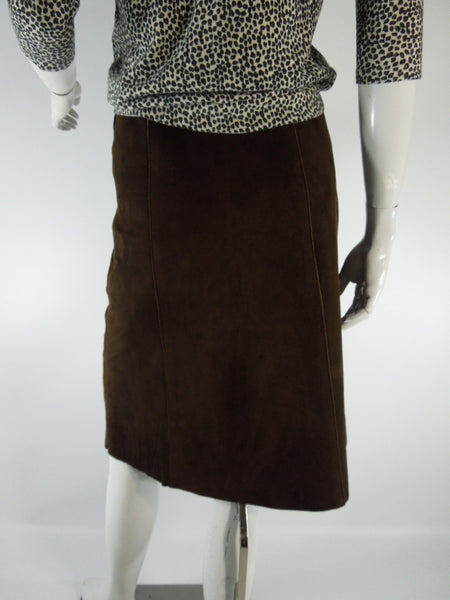 70s Snap Front Brown Suede Skirt  - sm