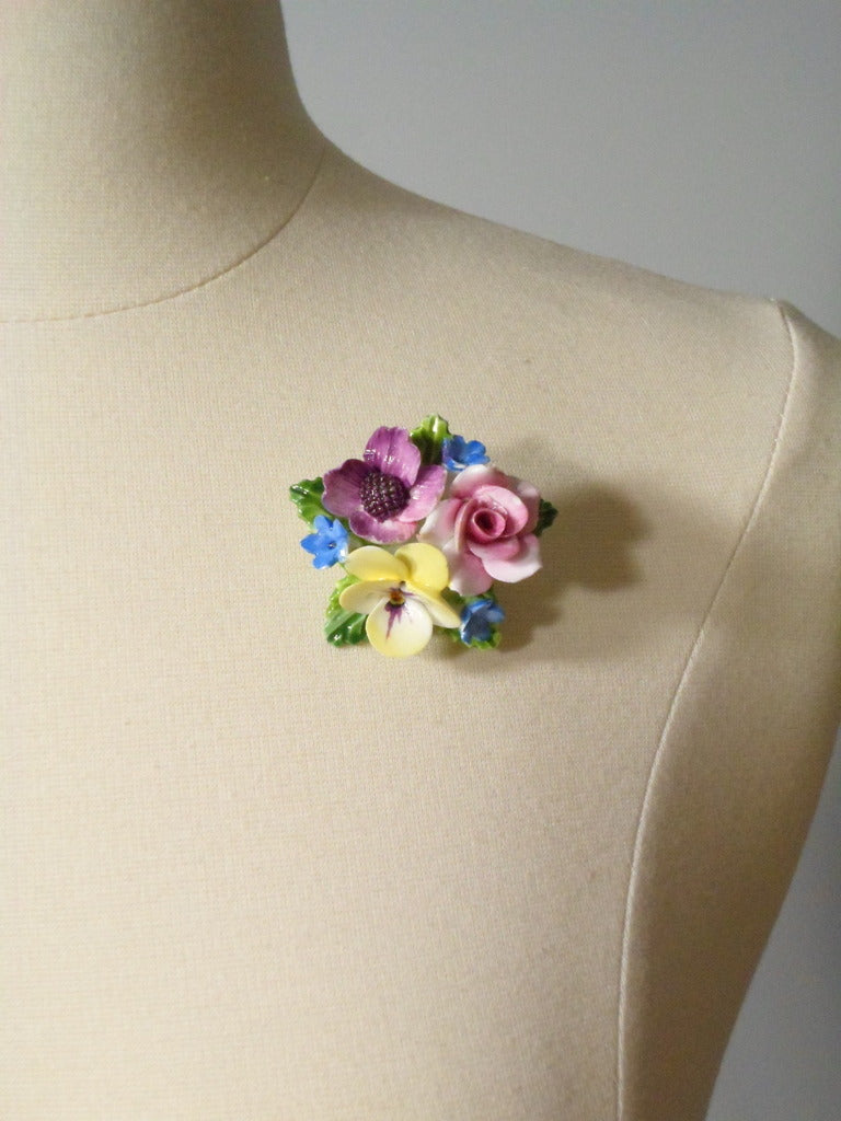 Vintage Crown Staffordshire Floral Brooch
