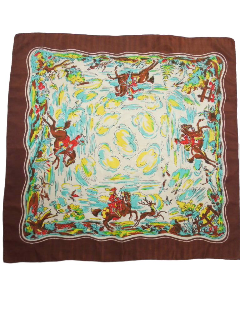Vintage Scarf with Hunt Scene