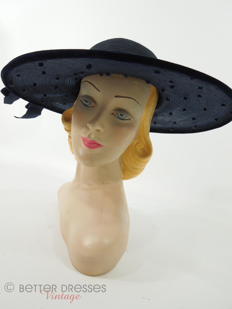1940s 1950s New Look Hat in Navy Blue