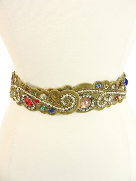Vintage 40s 50s Jeweled Velvet Leather Belt at Better Dresses Vintage.