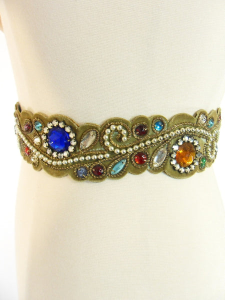 Vintage 40s 50s Jeweled Velvet Leather Belt at Better Dresses Vintage. View 2