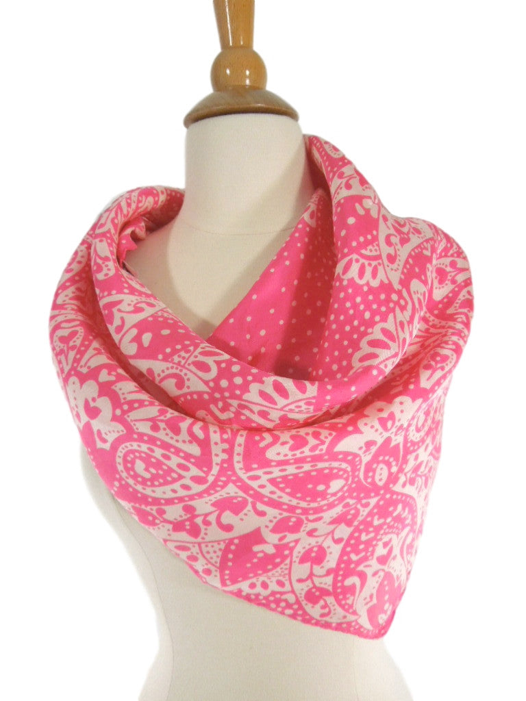 60s/70s Pink and White Paisley Silk Scarf