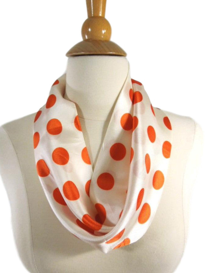 60s Mod Orange Polka Dot Infinity Scarf
