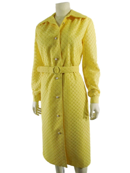 70s Yellow Lace Coat Dress
