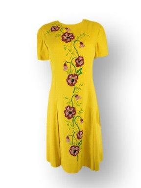 60s Embroidered Yellow Irish Linen Shift