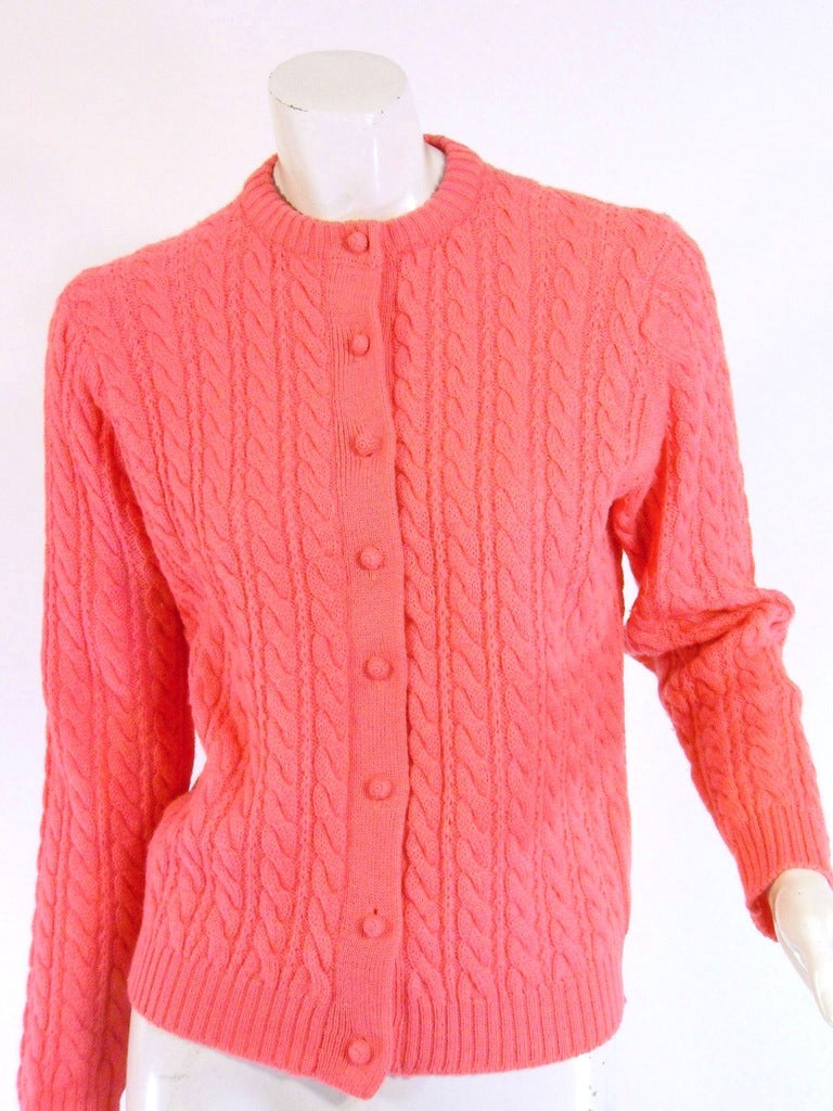 60s Pink Cable Knit Wool Sweater