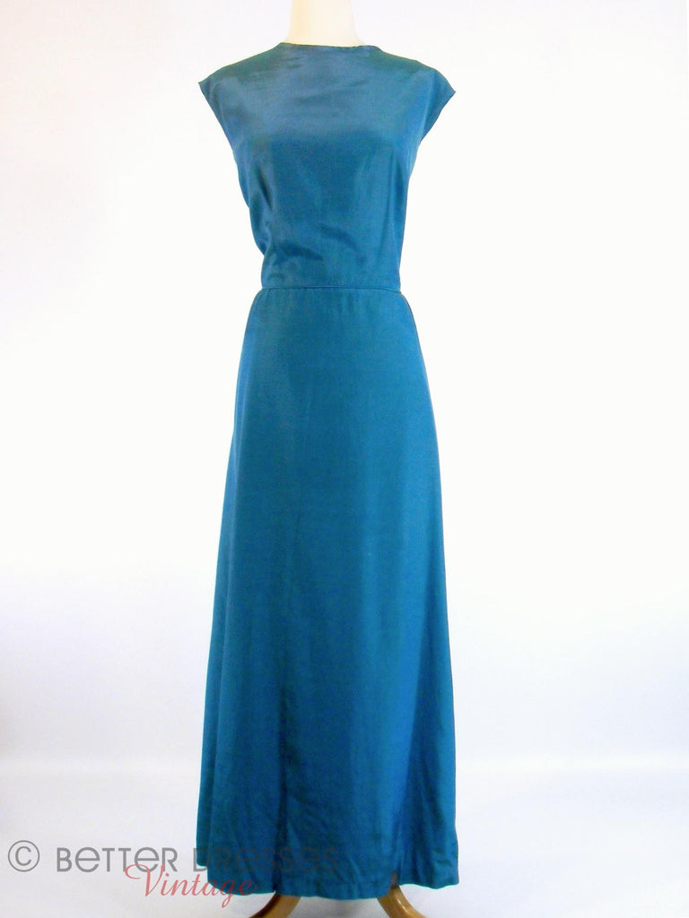 60s Peacock Blue Iridescent Gown at Better Dresses Vintage