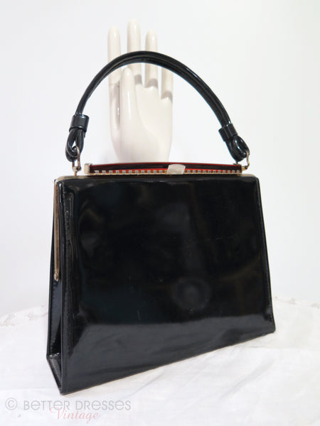 50/60s Black Patent Frame Purse