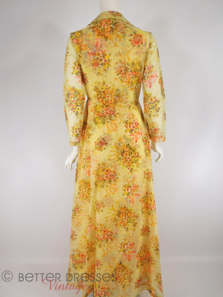 Vintage 1970s Maxi Dress Amp Coat Set In Yellow Floral Sm