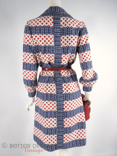 70s Red, White and Blue Long Sleeve Dress - med