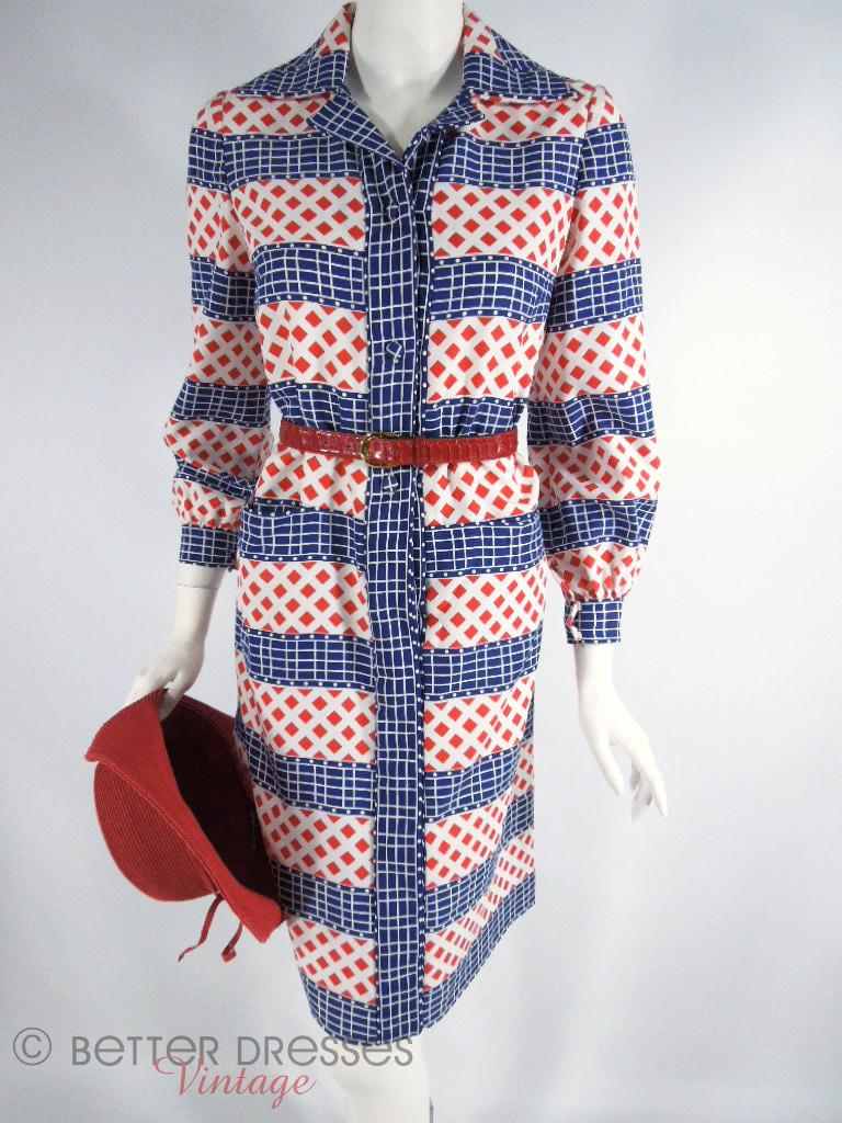 70s Red, White and Blue Long Sleeve Dress