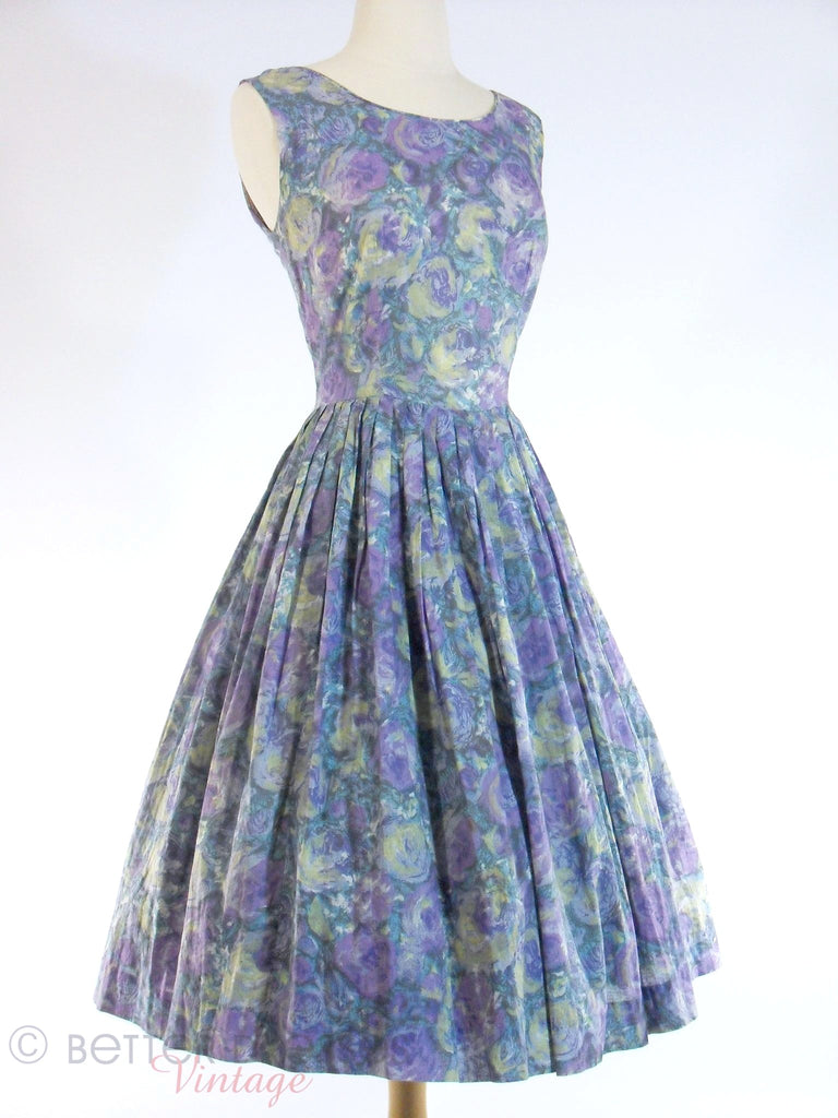 50s/60s Purple Floral Voile Dress
