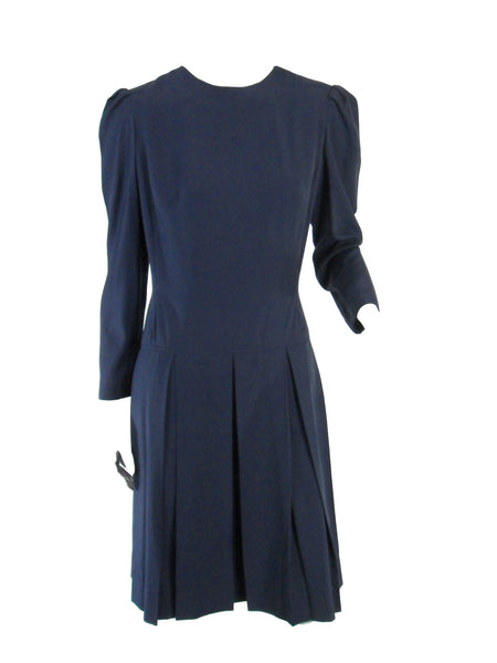 50s/60s Navy Blue Dress - front