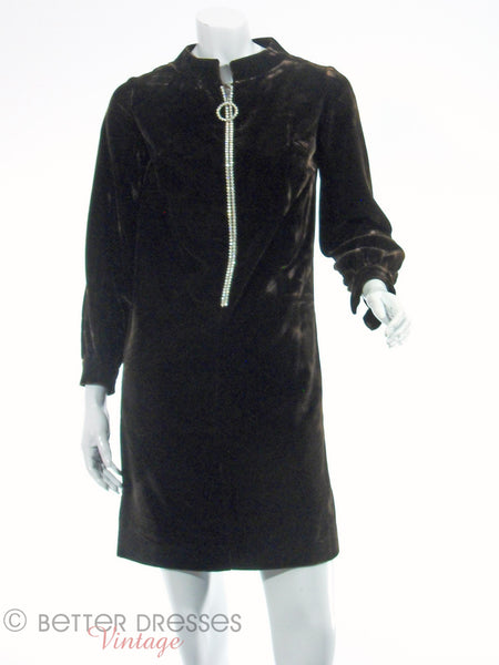 60s/70s Brown Velvet Mini With Rhinestone Zipper - front