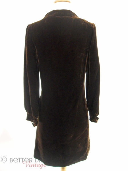 60s/70s Brown Velvet Mini With Rhinestone Zipper - back