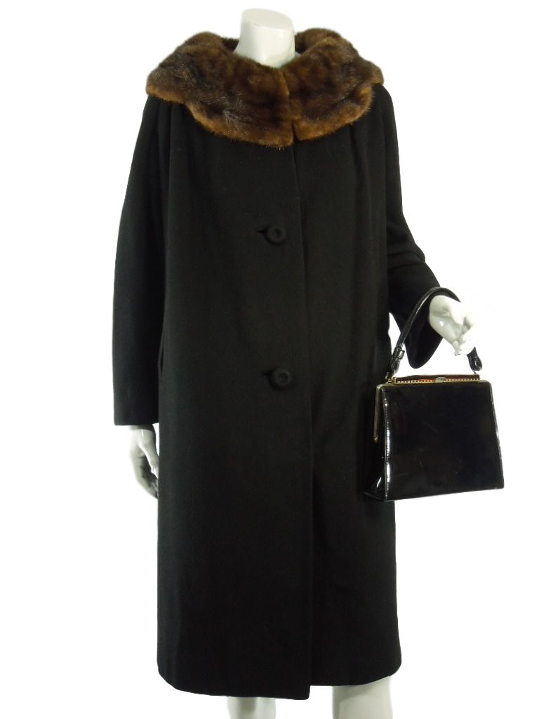 60s Black Cashmere Coat With Mink Collar