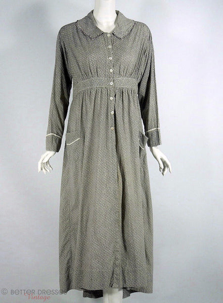 1910s Teens Cotton House Dress at Better Dresses Vintage
