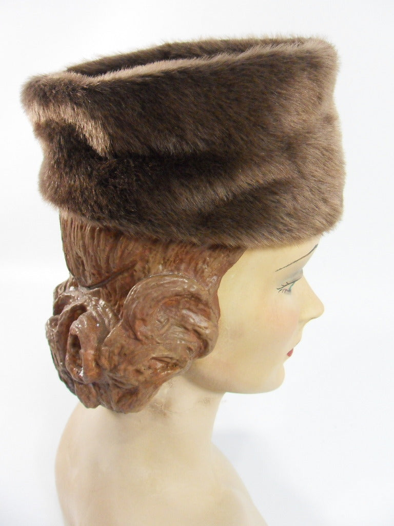 60s Brown Faux Fur Pillbox Hat by Pierpont