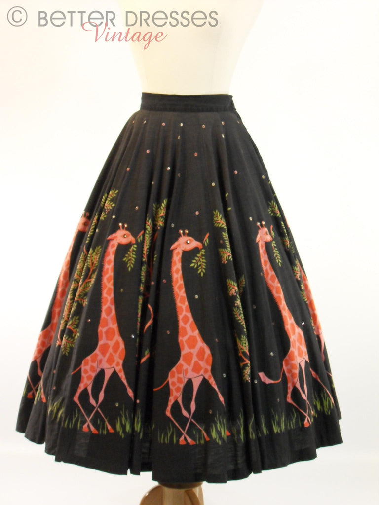 50s Giraffe Circle Skirt - full view