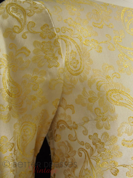 60s Gold Metallic Modest Gown - detail