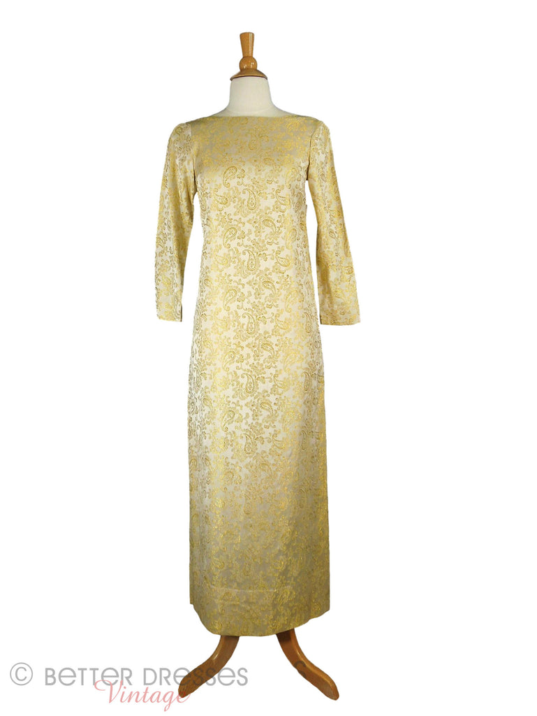 60s Mod Metallic Gold Gown