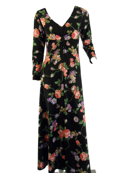 70s Black Floral Long Sleeve Maxi