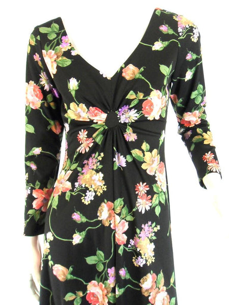 A Dress Town Original Vintage 70s Black Floral Maxi at Better Dresses Vintage. close
