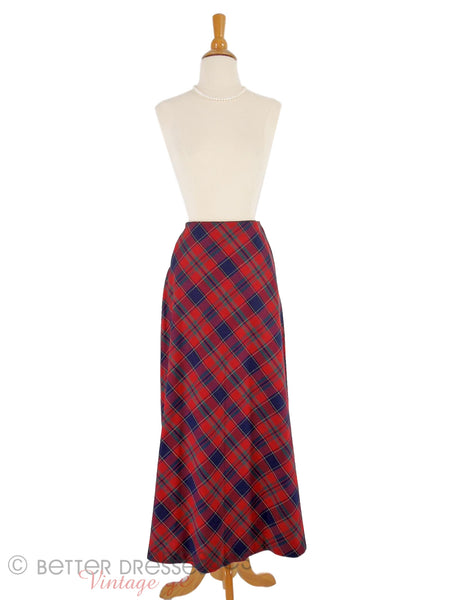 70s Red Plaid A-Line Midi Skirt
