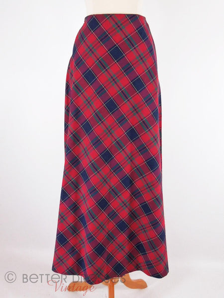 70s Plaid A Line Midi Skirt - close view