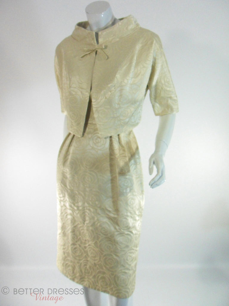 1950s Ivory Brocade Dress and Jacket Set by Mardi Gras at Better Dresses Vintage