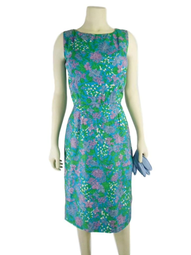 50s/60s Sheath Dress in Blue Green Purple Floral