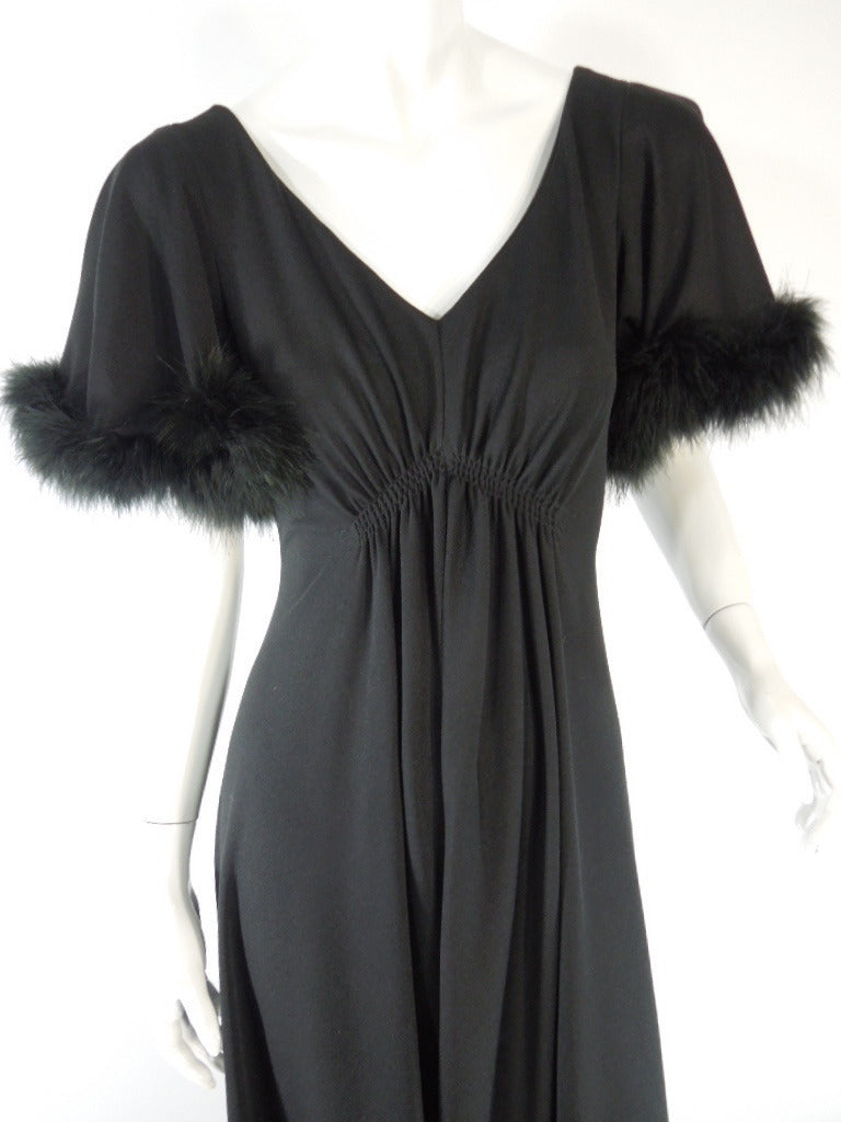 70s Black Marabou Trim Hostess Dress