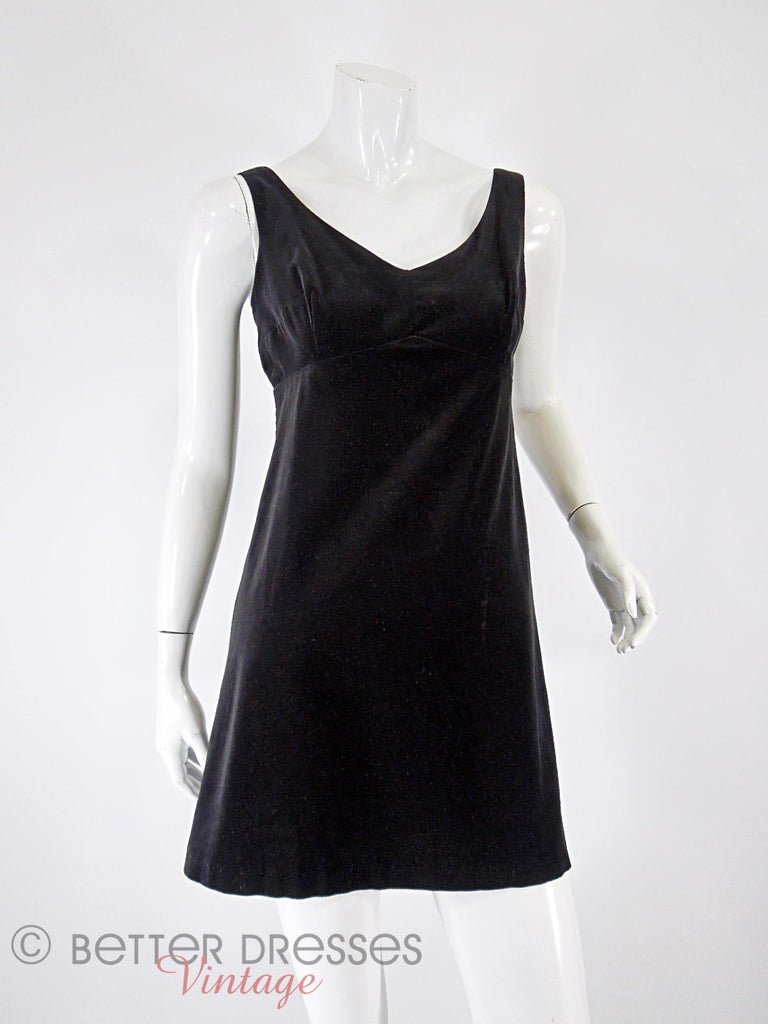 60s Black Velvet Mini Shift - front
