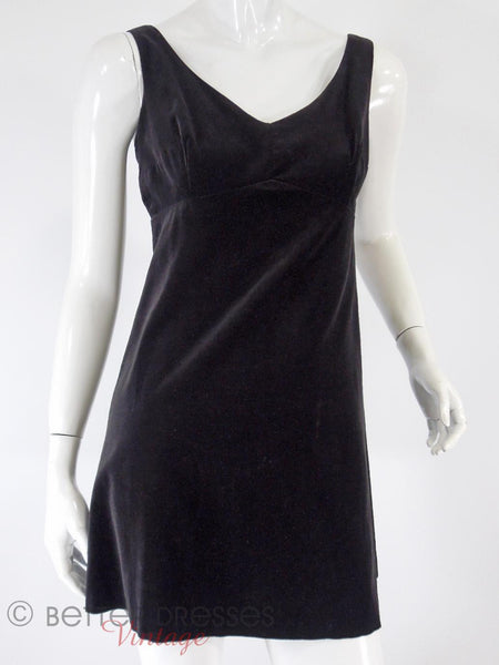 60s Black Velvet Mini Shift - closer view