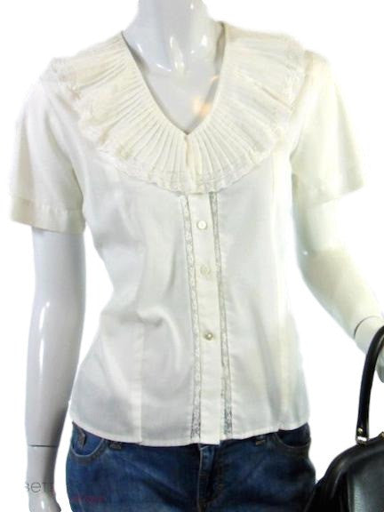 50s Portrait Collar Cream Cotton Blouse