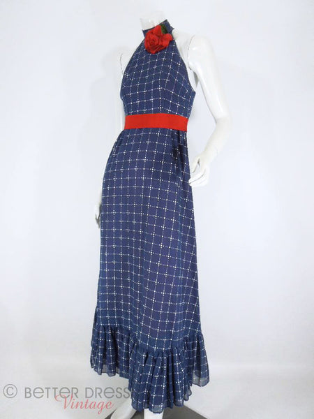 60s/70s Navy Halter Neck Maxi Dress - full angle