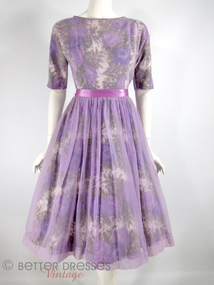 Vintage 1950s 1960s Party Dress Purple Floral Lavender