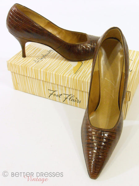 50s Brown Lizard Stiletto Pumps by Foot Flair