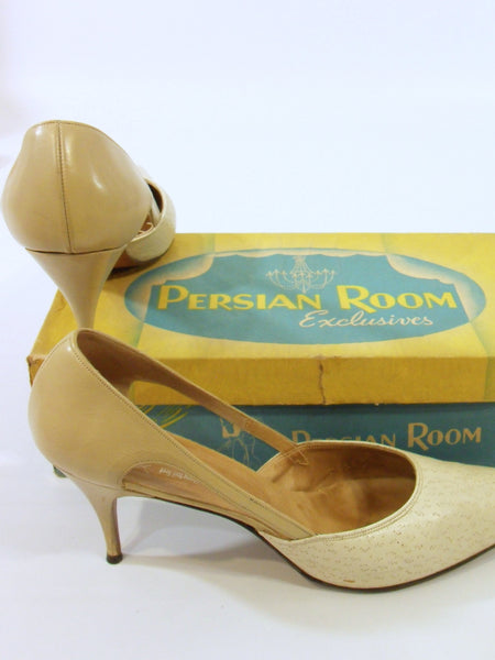 50s Bone Leather Stiletto Shoes by Caprini - side
